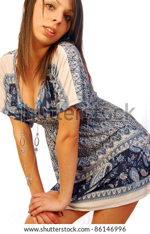The dress of this beautiful woman tells us that the summer is coming - stock photo