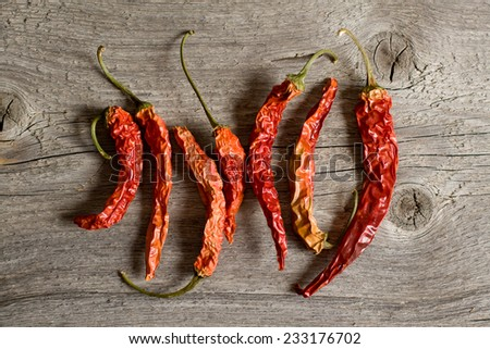 The dried peppers closeup on the wood composition - stock photo