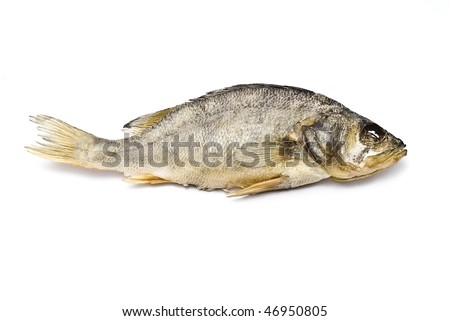 the dried up salty river fish - stock photo