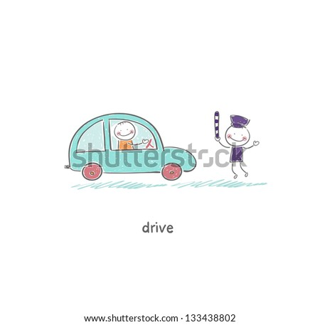 The driver and a policeman - stock photo