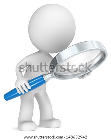 The Dude holding magnifying glass. Side view. Blue. - stock photo