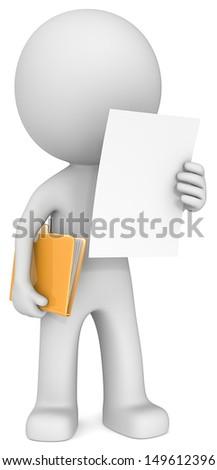 The Dude reading document and holding manila folder. - stock photo
