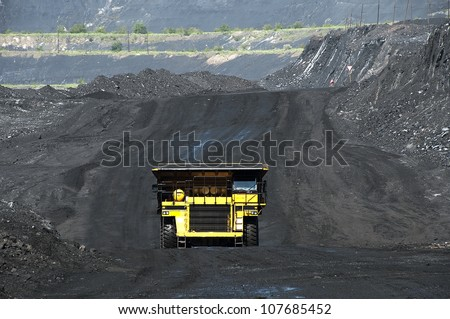 The dump truck, production useful minerals, - stock photo