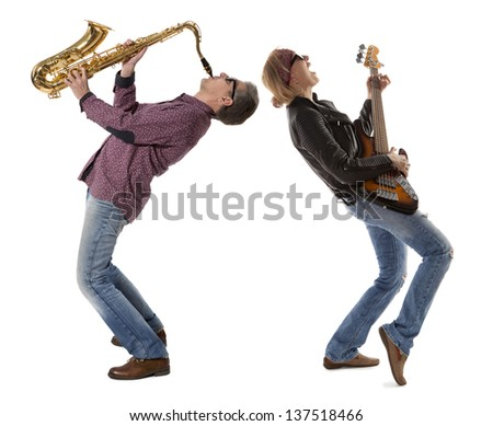 The duo of musicians with guitar and saxophone on a white background - stock photo
