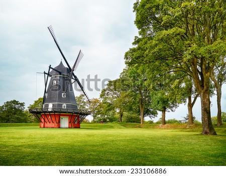 The Dutch type windmill at Kastellet in Copenhagen, Denmark.  - stock photo