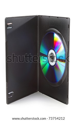 The DVD disk in the case isolated on white