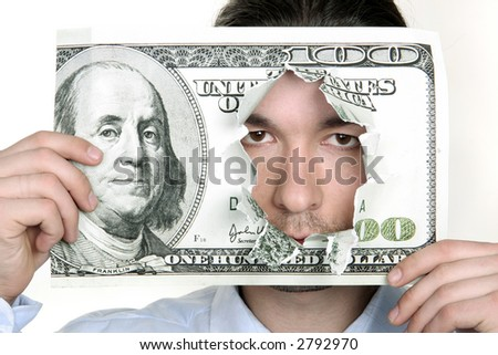 The dynamical emotional face of the man in a dollar hole