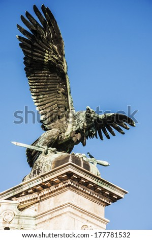 the eagle statue at the royal palace in Budapest, Hungary