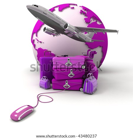 The Earth, a plane taking off, a pile of luggage including suitcases, briefcases, golf bag, connected to a computer mouse in purple and pink shades - stock photo
