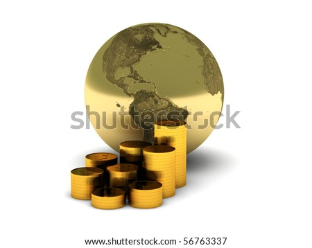 The Earth and gold coins isolated on white background. High quality 3d render. - stock photo