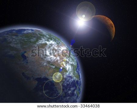 The Earth and Mars - stock photo