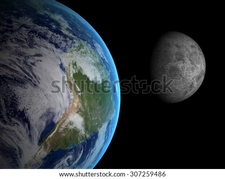 The Earth and Moon  from space on a black background. Extremely detailed image including elements furnished by NASA. - stock photo