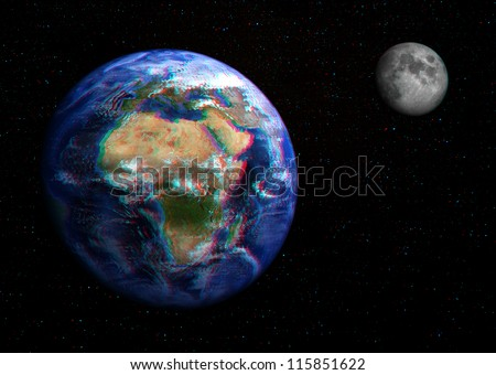 The Earth and Moon in space in 3D, with stars in the background. View anaglyph with red/cyan glasses.  Europe and Africa shown in this extremely detailed image, including elements furnished by NASA. - stock photo