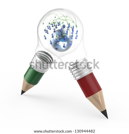 the earth and social network inside a pencil lightbulb as creative concept - stock photo