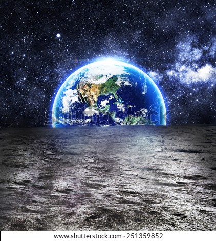 The Earth as Seen from the Surface of the Moon - Elements of this Image Furnished by NASA - stock photo