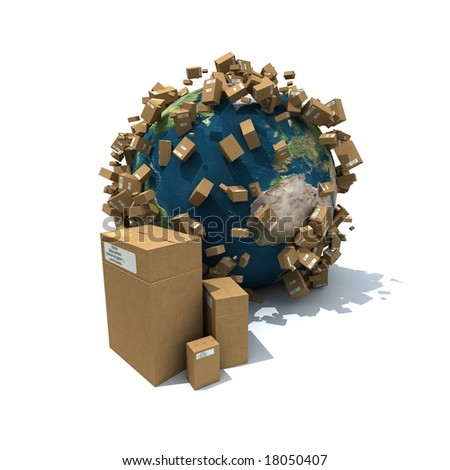 The Earth covered with brown carboard packages - stock photo