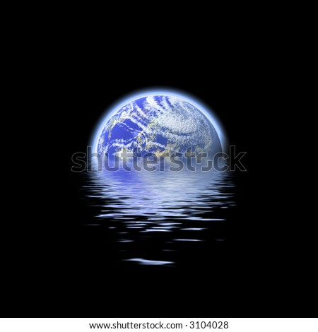 The earth floating in a pool of water - this works great to denote a flood or to represent the earth's oceans. - stock photo