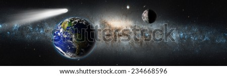 "The Earth from space and comet against milky way.""Elements of this image furnished by NASA  - stock photo"