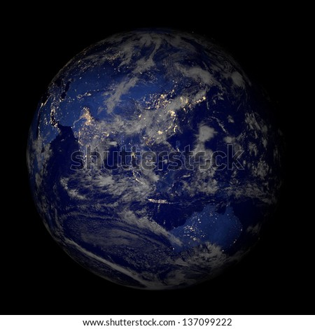 The Earth from space at night isolated on black. Elements of this image furnished by NASA. Other orientations available. - stock photo