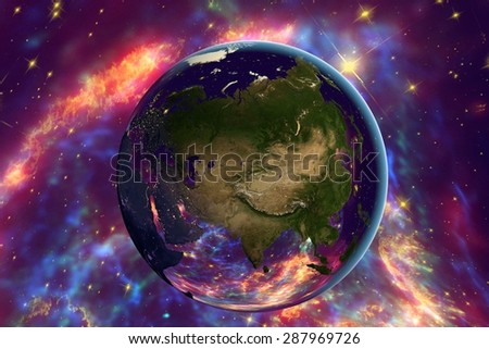 The Earth from space on the background with stars and galaxies showing Russia, China, India, Asia on globe in the day time; elements of this image furnished by NASA - stock photo