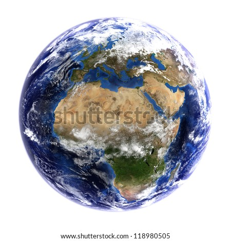 The Earth from space showing Europe and Africa, isolated on white. Other orientations available. Elements of this image furnished by NASA.