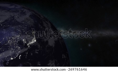 The Earth from space showing Japan - (Extremely detailed map furnished by NASA.) - stock photo