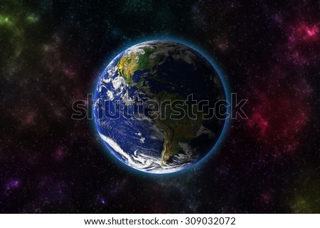 The Earth from space showing North and South America. Extremely detailed image including elements furnished by NASA. Other orientations available. - stock photo