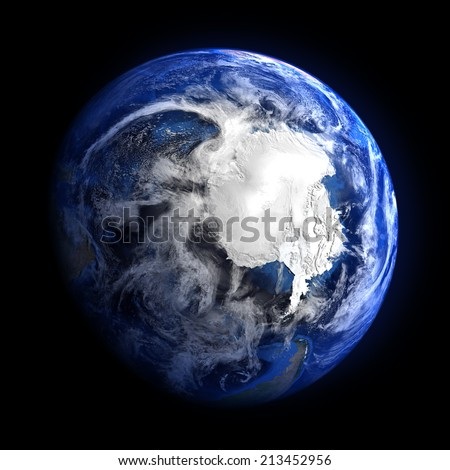 The Earth from space showing the Antarctic. Elements of this image furnished by NASA. Other orientations available.  - stock photo