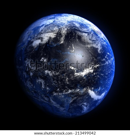 The Earth from space showing the Pacific ocean. Elements furnished by NASA. Other orientations available.  - stock photo