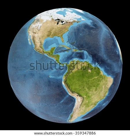The Earth / Gaia / Terra - View of the Americas - Elements of this image furnished by NASA - stock photo