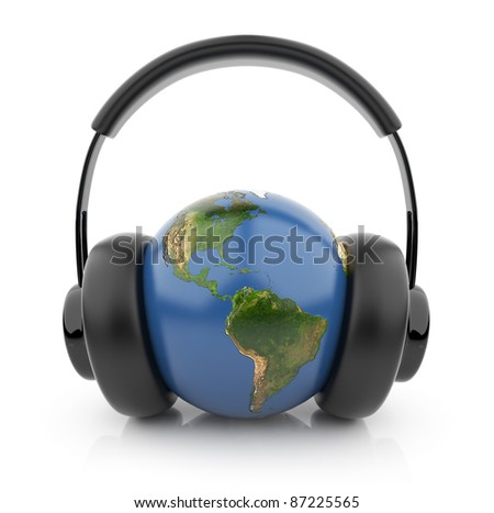 The Earth globe with black audio headphones 3D. Isolated on white