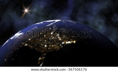 The Earth in space as night falls over North America and city lights shine. High resolution illustration 10745. - stock photo