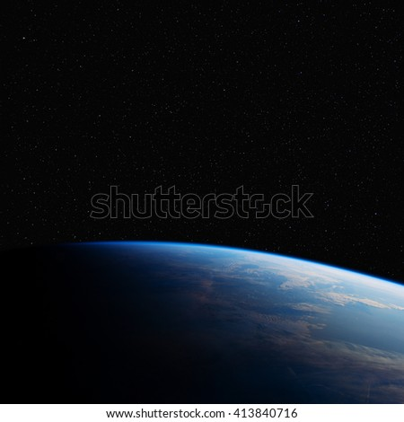 The Earth in space at night. Elements of this image furnished by NASA. - stock photo