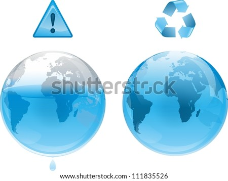 The Earth losing water. The concept of preservation of resources isolated on a white background - stock photo
