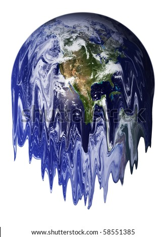 The Earth melting, result of global warming. - stock photo