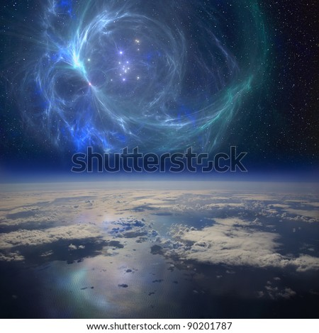 The Earth near a beautiful nebula in space. This is is a conceptual composite image. - stock photo