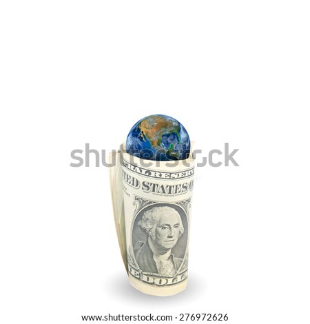 The earth on dollar banknote . USD dollar , america econimic control the world, Elements of this image furnished by NASA
