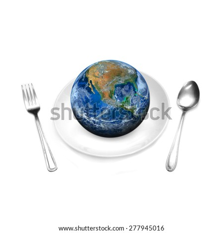 the earth on plate and spoon, including elements furnished by NASA.