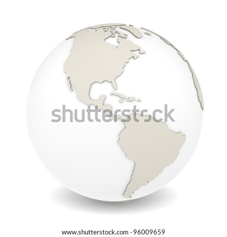 The Earth rotation view 3. The Earth on white background. Sparse design. - stock photo