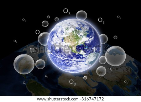 The earth's ozone layer.Elements of this image furnished by NASA - stock photo