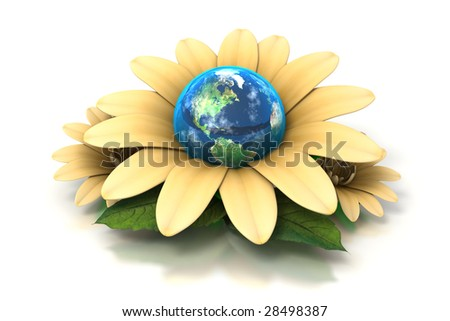 The Earth sits inside a yellow flower, a go green concept on a white background - stock photo