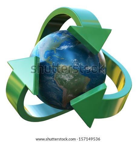 The Earth surrounded by the recycle symbol 3D rendering