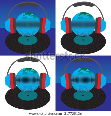 The earth (the globe) headphones and vinyl record. Elements for design.  - stock photo