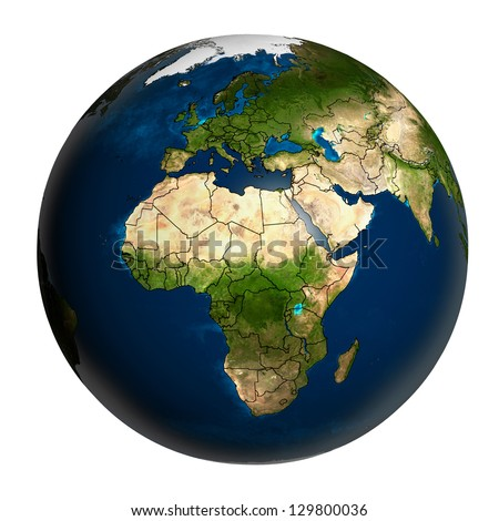 The Earth with accurate country boundaries, isolated on white. Elements of this image furnished by NASA. Other orientations available. - stock photo