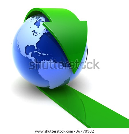 The Earth with the green arrow - stock photo