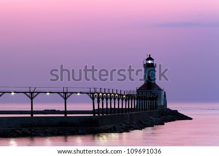 The East Pierhead Light, Michigan City, IN with Catwalk at Twilight - stock photo
