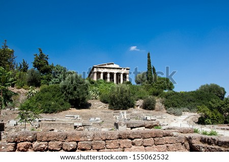 The eastern face the Temple of Hephaestus. Athens, Greece. - stock photo