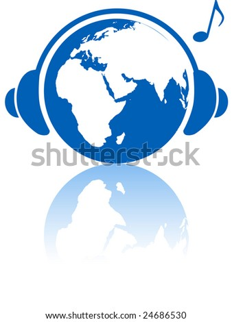 The Eastern hemisphere wears headphones to hear Earth music world with musical note and reflection. - stock photo