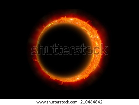 The eclipse of the moon, Abstract scientific background - full eclipse, black hole.  - stock photo