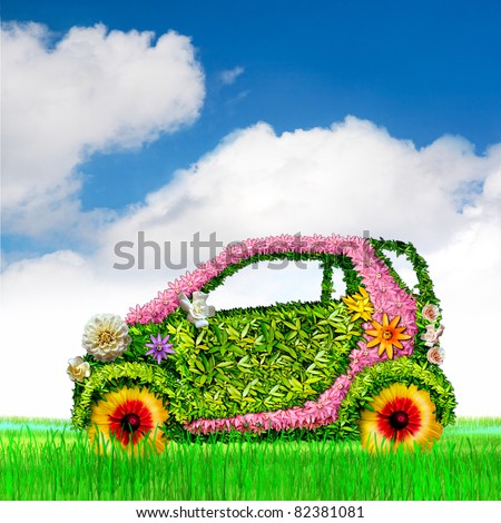 The ecological car. The sky. - stock photo